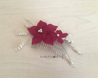 WAHINE in Burgundy & ivory hair comb
