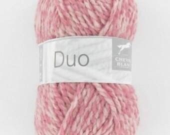 Laine à tricoter DUO coloris rose/chair de CHEVAL BLANC