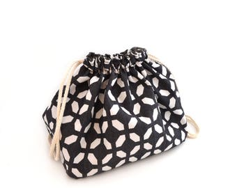 Graphic black and white pouch