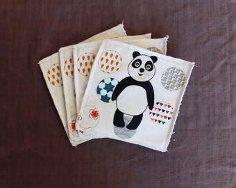 Set of 4 baby wipes washable panda