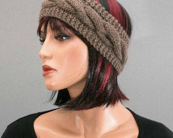 Hand knitted headband, ear-warmer, headband, Brown, with cables