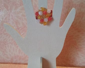 Ring beaded - Hexagon in summer colours