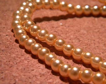 Pearly iridescent glass 4 mm - camel metallic - PF103 100 beads