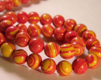 10 beads natural stone - orange and yellow - 8 mm - A - PP - 03