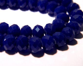 "40 faceted beads-glass 6 mm - way ""jade"" - blue night F50"