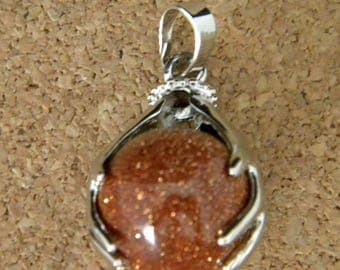 Pendant natural stone - gold sand - 16mm - gemstone semi precious - PE283