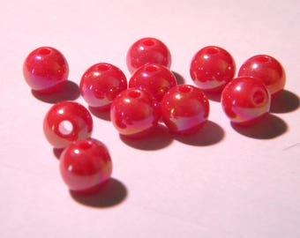 50 pearls iridescent - 8 mm - raspberry PE 287-18