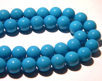 10 glass fired-10 mm - smooth beads and turquoise glossy bright bright-K57-1