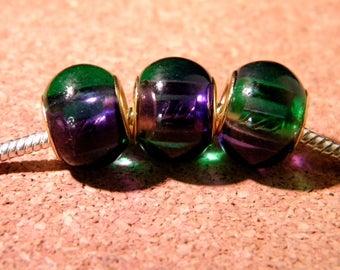 2 bead charm European - glass 2-tones - 15 x 12 mm - purple-green-D86-3