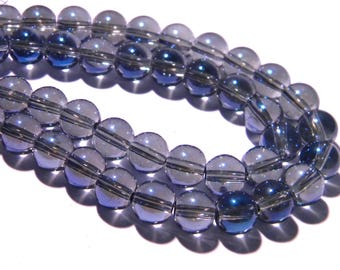40 beads glass electroplate 8 mm - blue - bead - 8 mm glass bead - electroplated G13