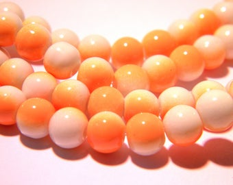 60 beads-6 mm - 2 colors-orange and white-light glass - G55-1