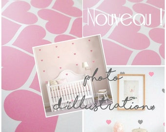 Shape decoration Pink Hearts stickers for child's room