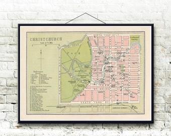 Christchurch New Zealand 1893 Map Fine Art Print
