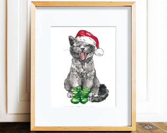 Poster A4, Christmas cat