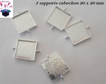 5 connectors silver ring square 20 x 20 mm