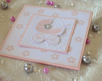 """10 birth announcement or christening """"Baby carriage"""": pink and white"""