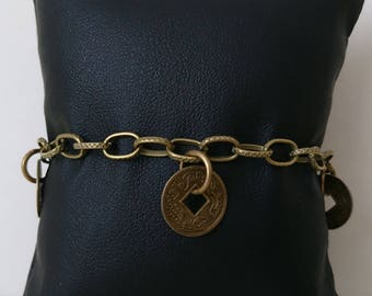 Chain bracelet with coins charms