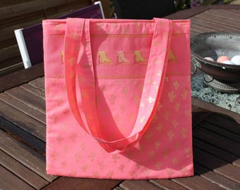 Bag embroidered fashion tote bag coral pink