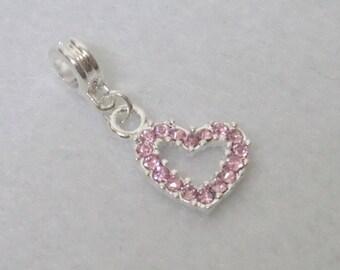Pink Crystal Rhinestone Heart pendant charm