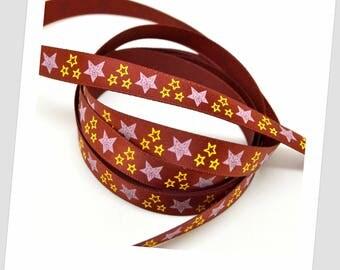 9mm - Burgundy satin ribbon 5 meters / Star 2 colors