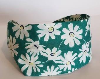 Daisy fabric headband, Headbands for women, White flower headband