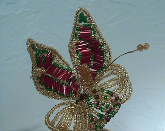 Christmas flower beads on the stem 35cm. Fleur Thanksgiving. Fleur Rouge and gold. Flower arrangement. Beads gift