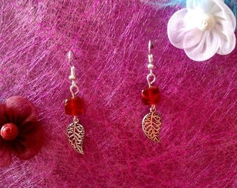 leaf earrings and Red bead