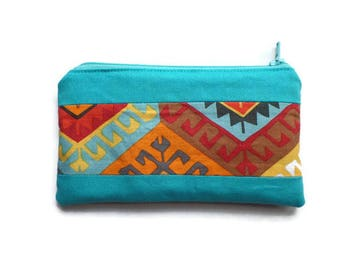 Small Multi Purpose Bag Turquoise and Tribal Fabric, Pencil Case, Coin Purse, Toiletries Pouch, Documents Holder, Fully Lined, Zippered