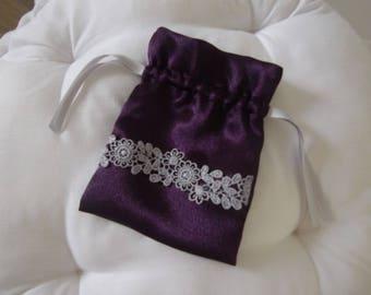for favors gift bag, jewelry, dark purple satin