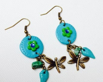 Earring, colorful, turquoise, green, flowers, dragonfly, polymer clay