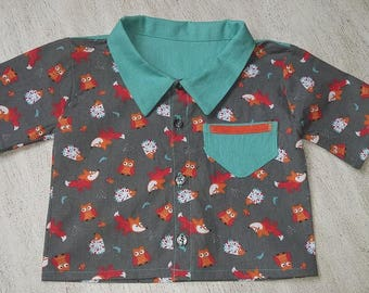 """shirt for baby from 6 months cotton fabric printed """"Foxes"""""""