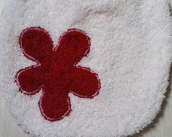 Original red flower pattern Terry cloth bib