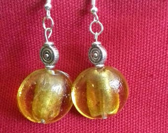 Silver earrings with silver foil glass bead