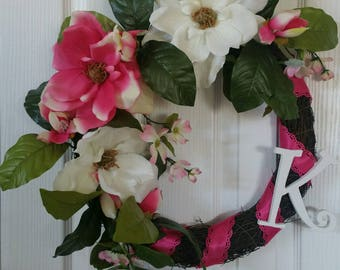 PInk & white magnolia/dogwood monogramed tropical spring summer front door entryway wreath