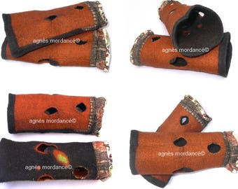 Reversible felted mittens - pure wool Merino, silk - OOAK