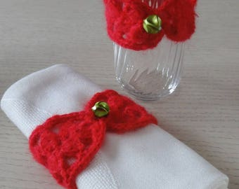 RED NAPKIN RINGS OR BRAND NEW GLASS