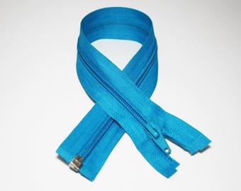 Zip closure, 35 cm, turquoise, detachable