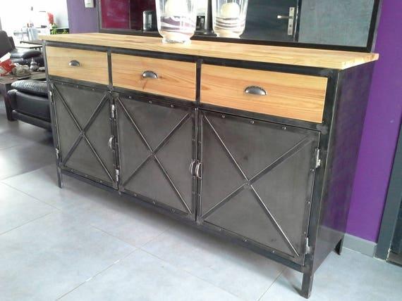Meuble industriel buffet 3 portes acier et plateau en pin - Meuble buffet bois ...
