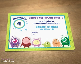 Personalized printable birthday invitation theme: little monsters