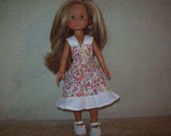 cotton dress printed for cherished dolls (flower, liberty style print)