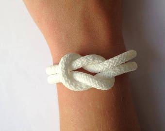 White knot rope bracelet marine