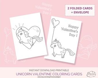 Unicorn coloring valentines card, Printable unicorn coloring sheet, Kids valentine greetings instant digital download