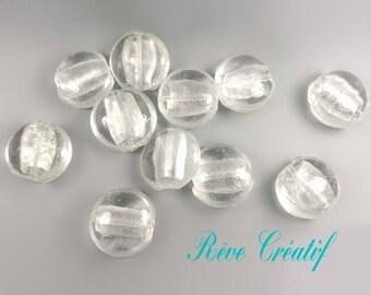 1/4pcs Perles Rondes Bombées Galet 25mm x 13mm Perles en Verre Transparent et Feuille d'Argent