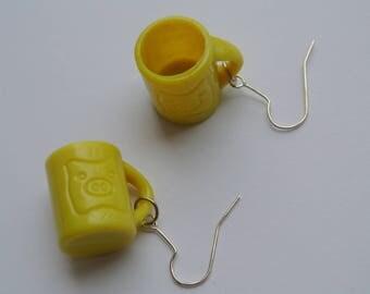 Yellow mug earring pair