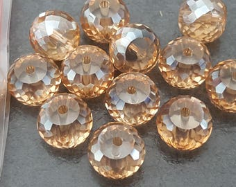 2 beads, champagne Crystal AB 10 mm faceted beads