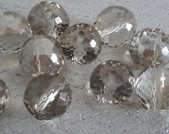 2 Crystal AB 10 mm faceted beads silver faceted beads
