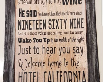 The EAGLES HOTEL CALIFORNIA Retro Wall hanging sign