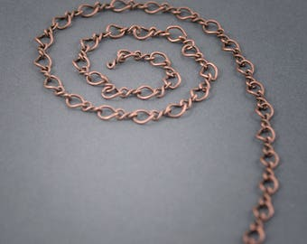 1 meter • chain • • • copper plated 7mm x 6mm link size twisted curbed