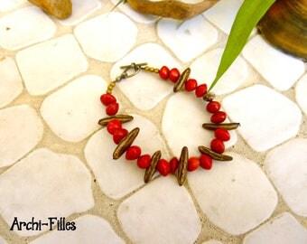 Bracelet graine rouge Tahiti,graine de flamboyant,gourmette graine exotique naturelle,graine Martinique,bijou ethnique,bijou végétal nature