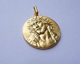 Yellow Gold Pendant head of Christ with Crown of thorns